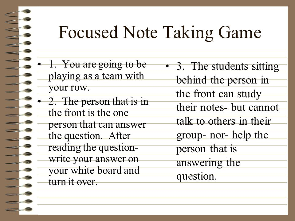 Focused Note Taking Game