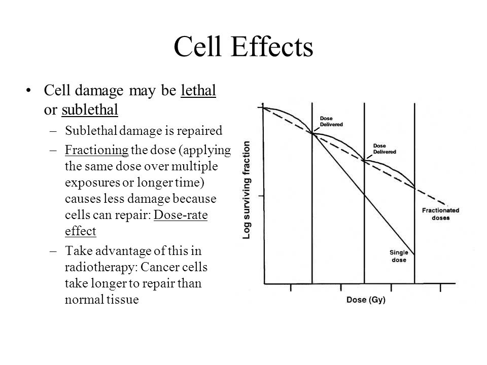 Cell Effects Cell damage may be lethal or sublethal
