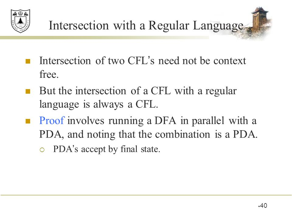Intersection with a Regular Language