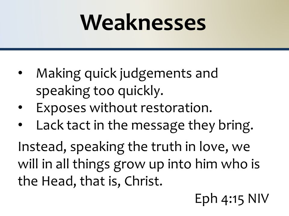 Weaknesses Making quick judgements and speaking too quickly.