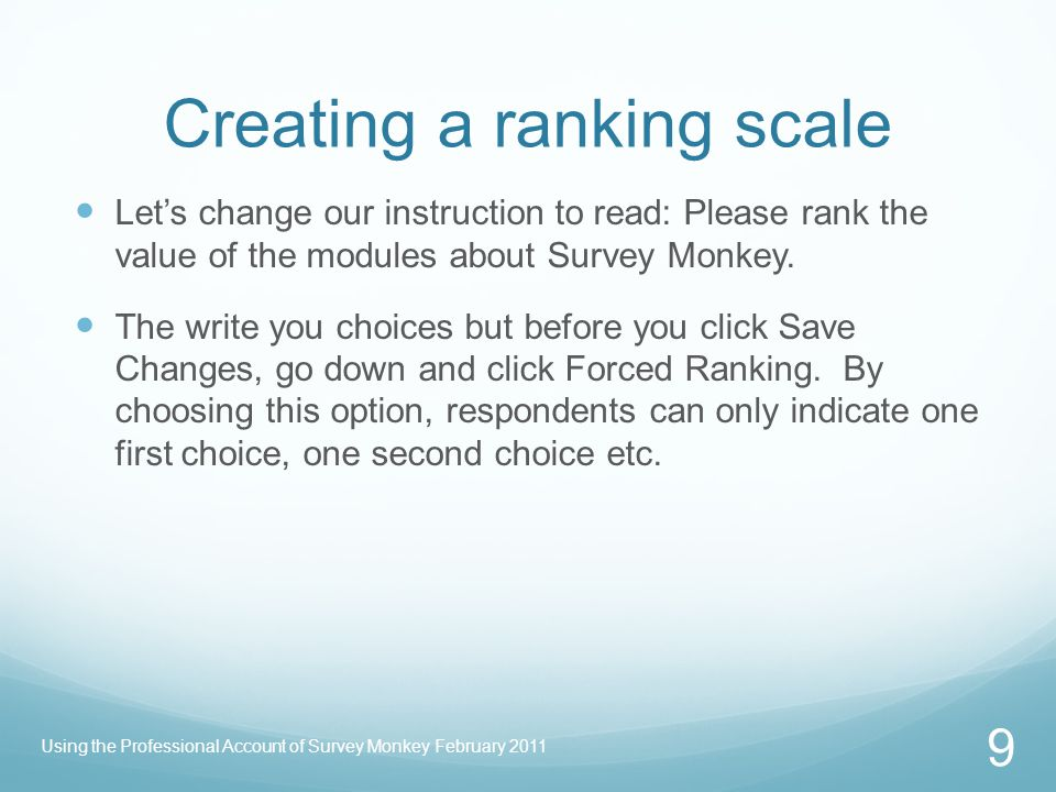 Creating a ranking scale