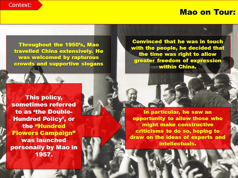 Context: Mao on Tour: Throughout the 1950's, Mao travelled China extensively. He was welcomed by rapturous crowds and supportive slogans.