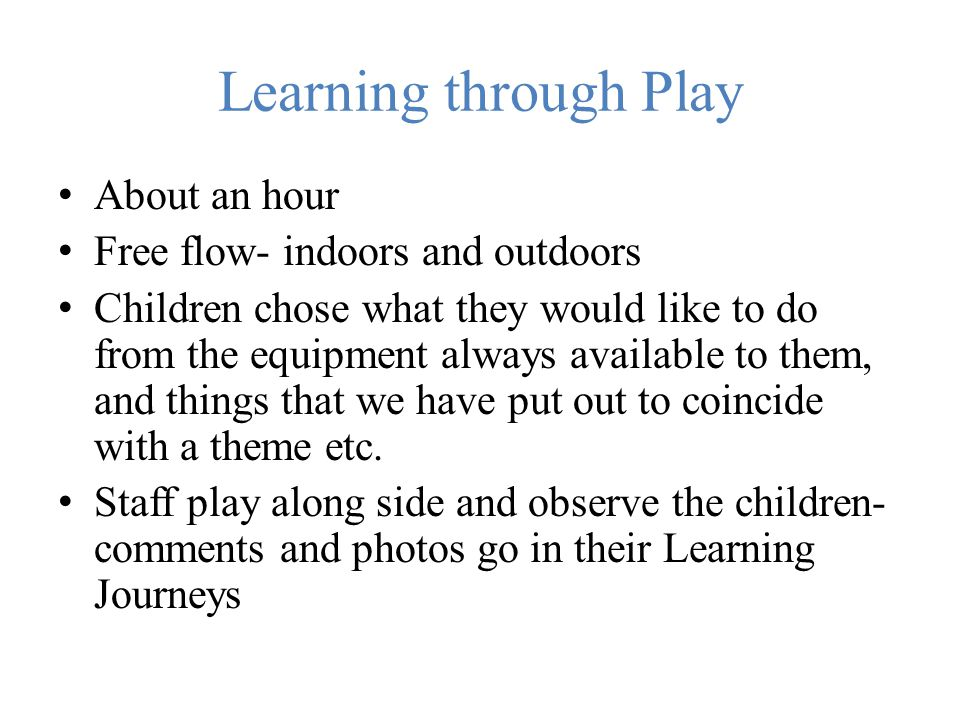 Learning through Play About an hour Free flow- indoors and outdoors
