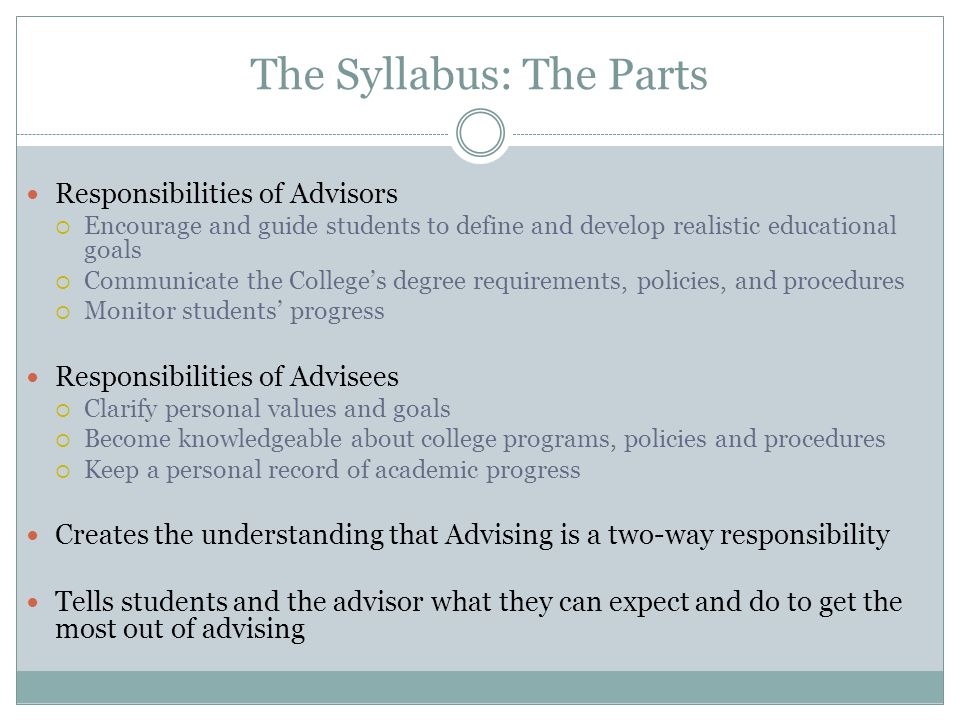 The Syllabus: The Parts