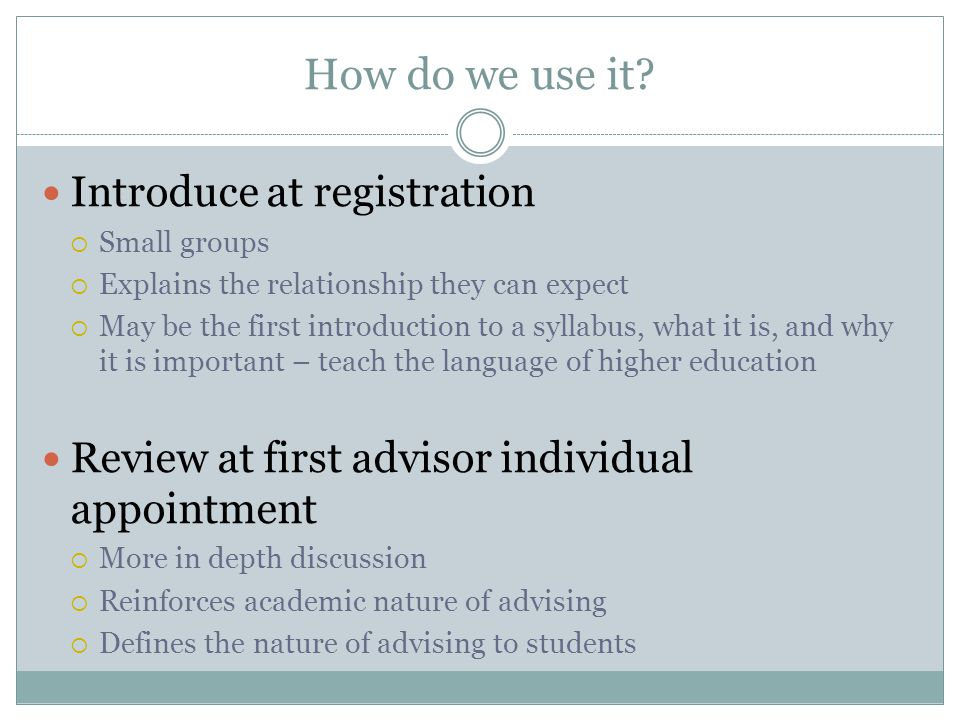 How do we use it Introduce at registration