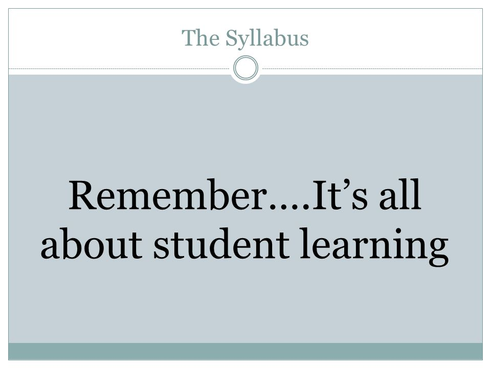 Remember….It's all about student learning