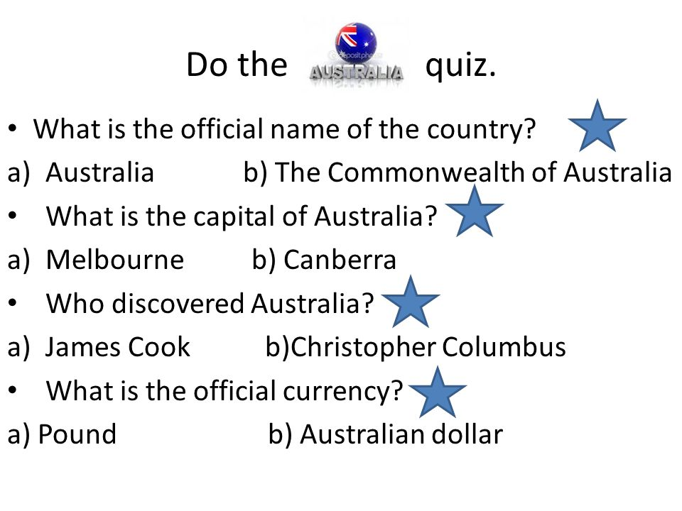 Do the quiz. What is the official name of the country