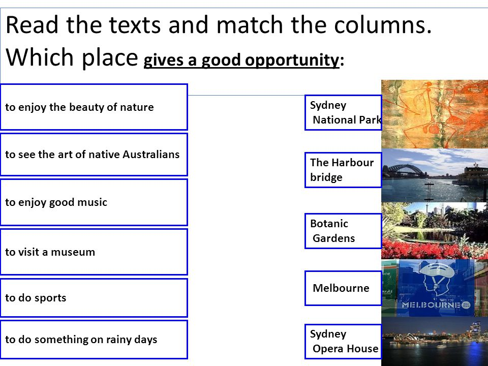 Read the texts and match the columns