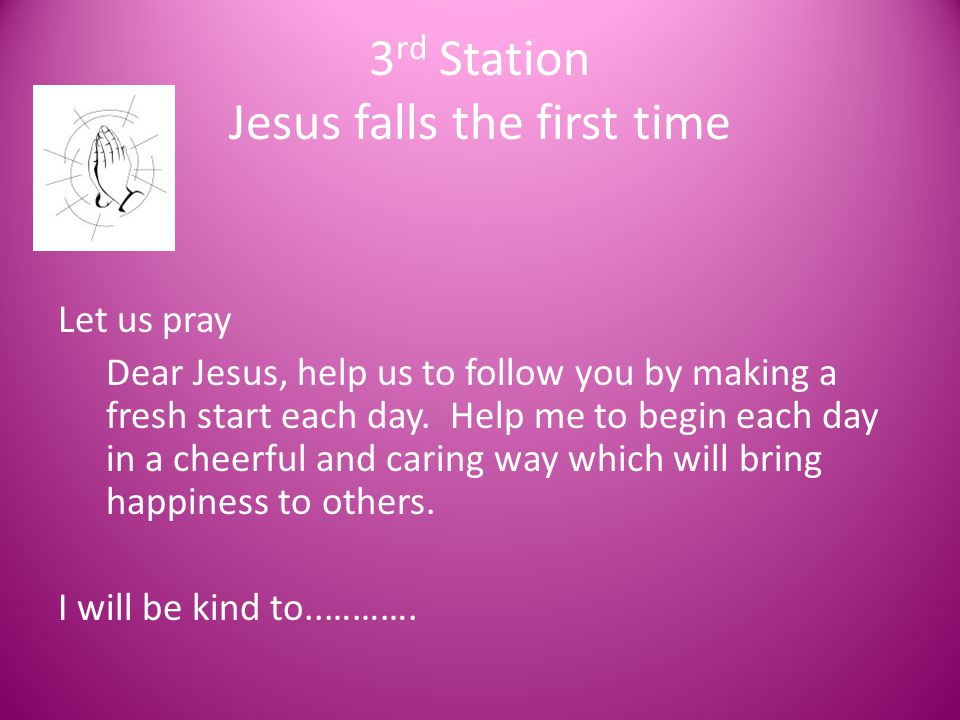 3rd Station Jesus falls the first time