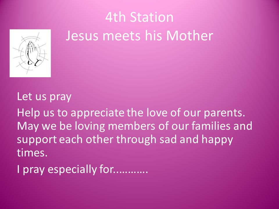 4th Station Jesus meets his Mother