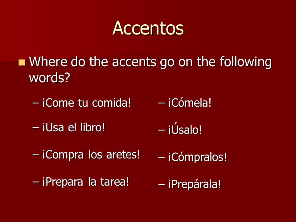 Accentos Where do the accents go on the following words