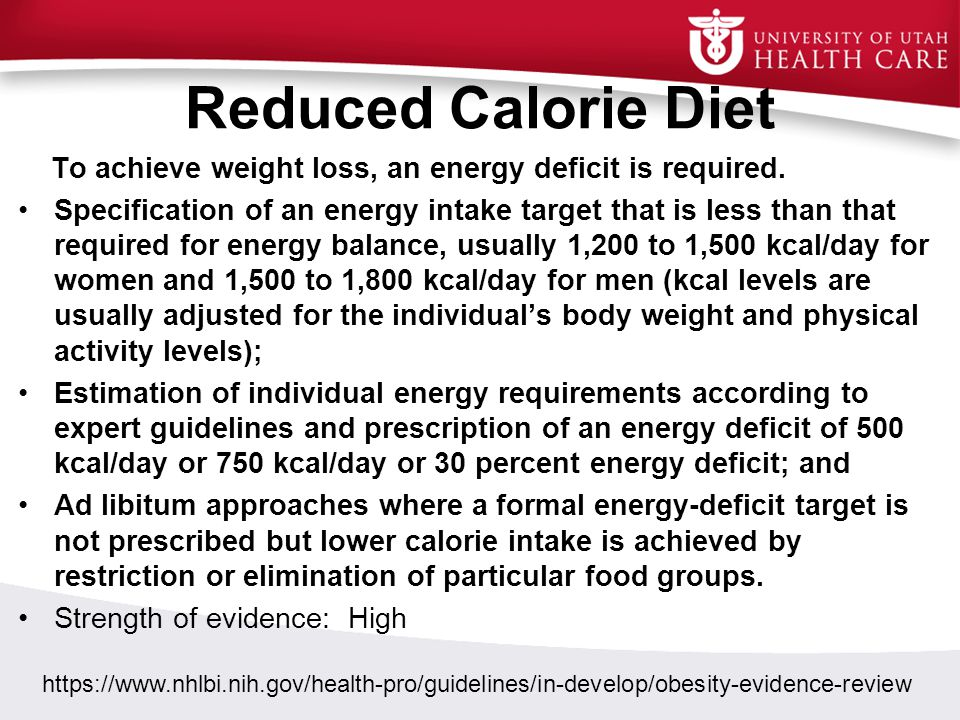 Reduced Calorie Diet To achieve weight loss, an energy deficit is required.