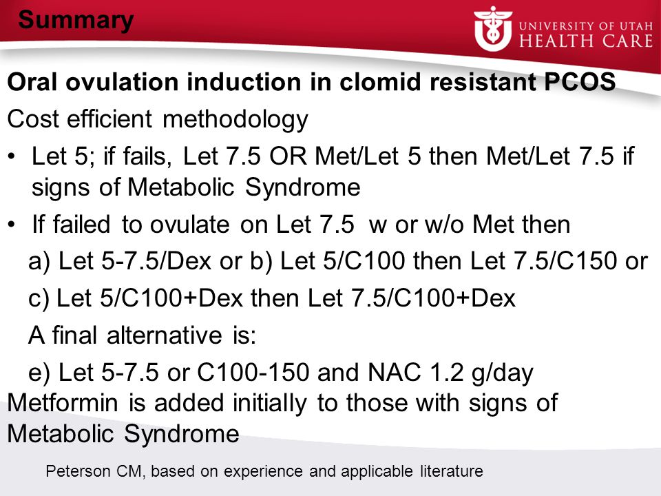 Oral ovulation induction in clomid resistant PCOS