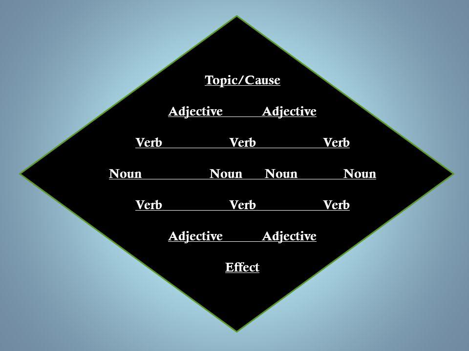 Topic/Cause Adjective Adjective. Verb Verb Verb. Noun Noun Noun Noun. Verb Verb Verb.