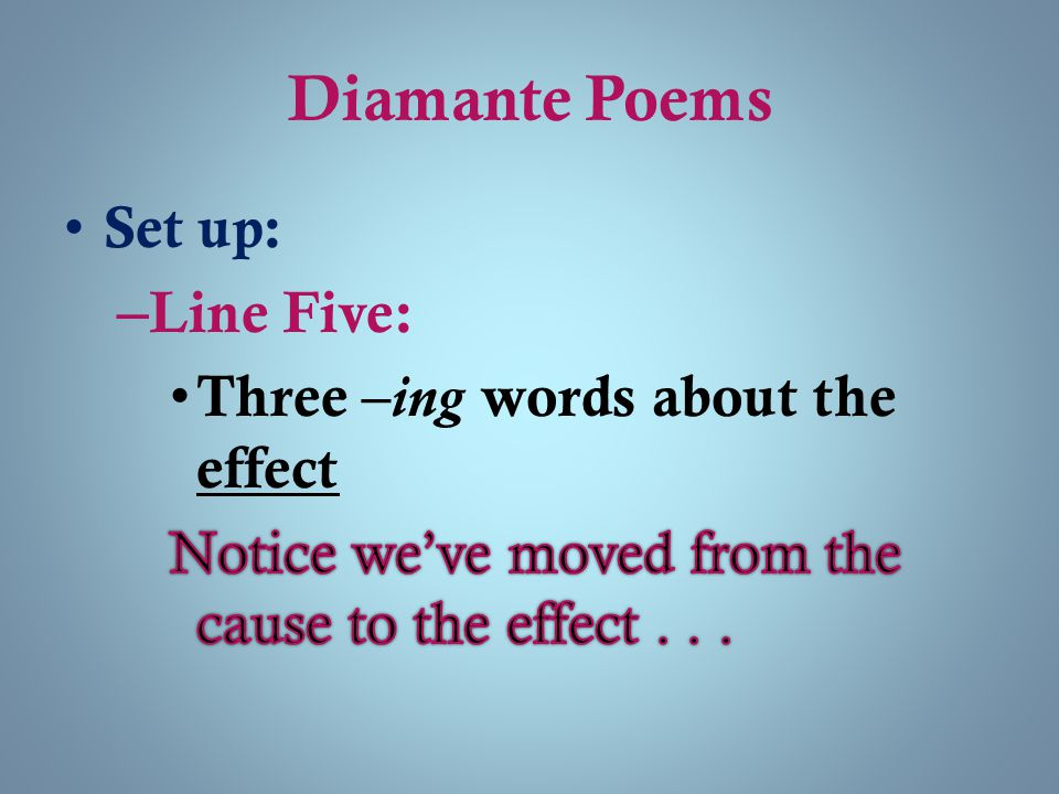 Diamante Poems Set up: Line Five: Three –ing words about the effect