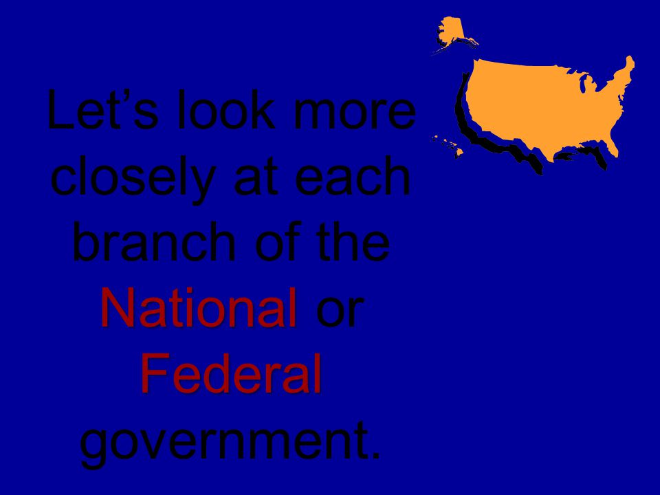 Let's look more closely at each branch of the National or Federal government.