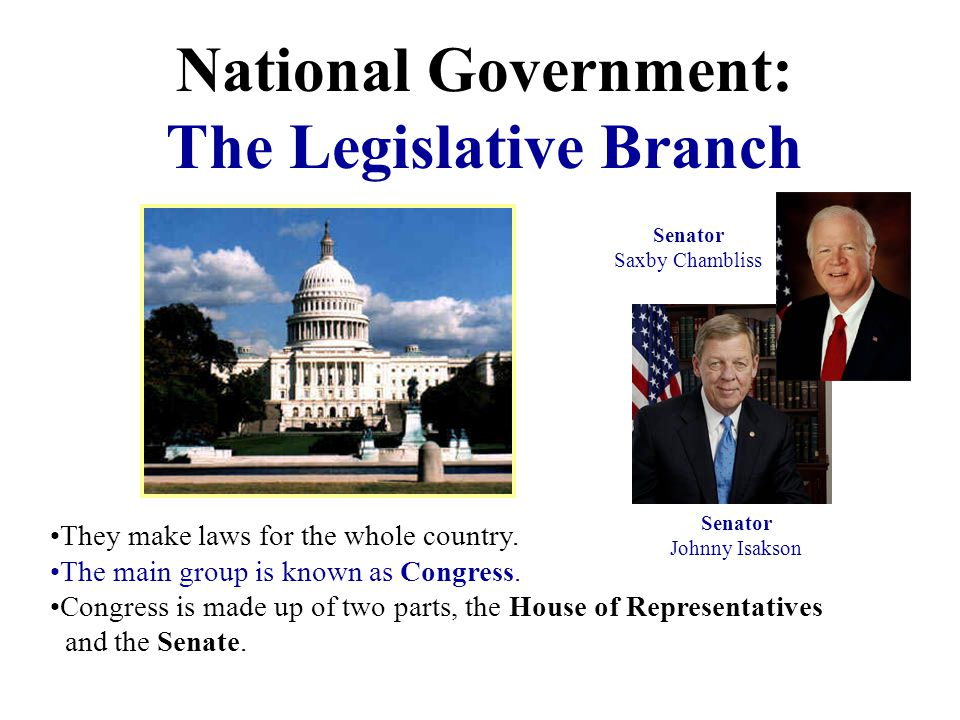 National Government: The Legislative Branch