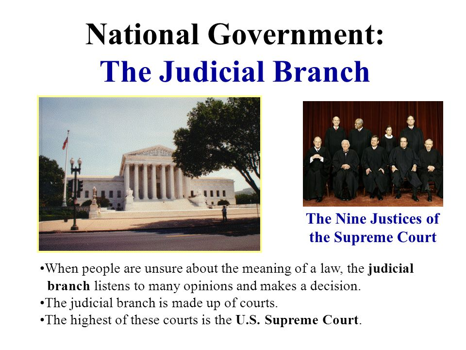 National Government: The Judicial Branch