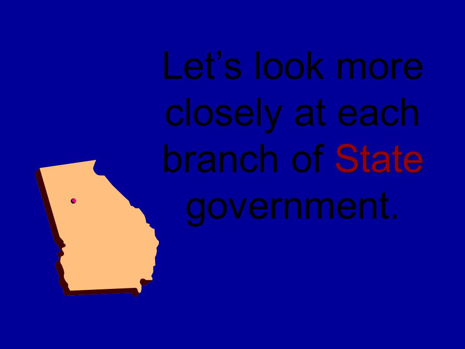 Let's look more closely at each branch of State government.