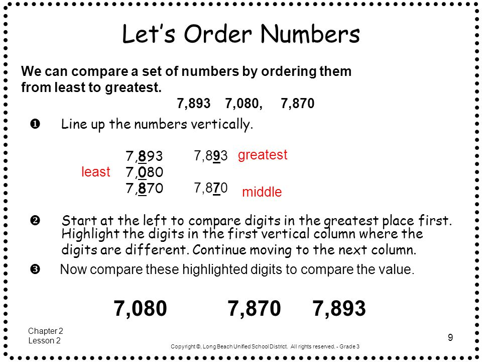 Let's Order Numbers We can compare a set of numbers by ordering them. from least to greatest. 7,893 7,080, 7,870.