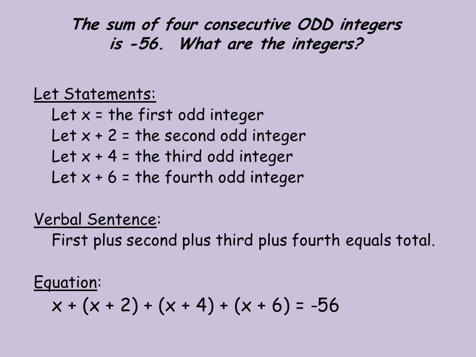 The sum of four consecutive ODD integers is -56. What are the integers
