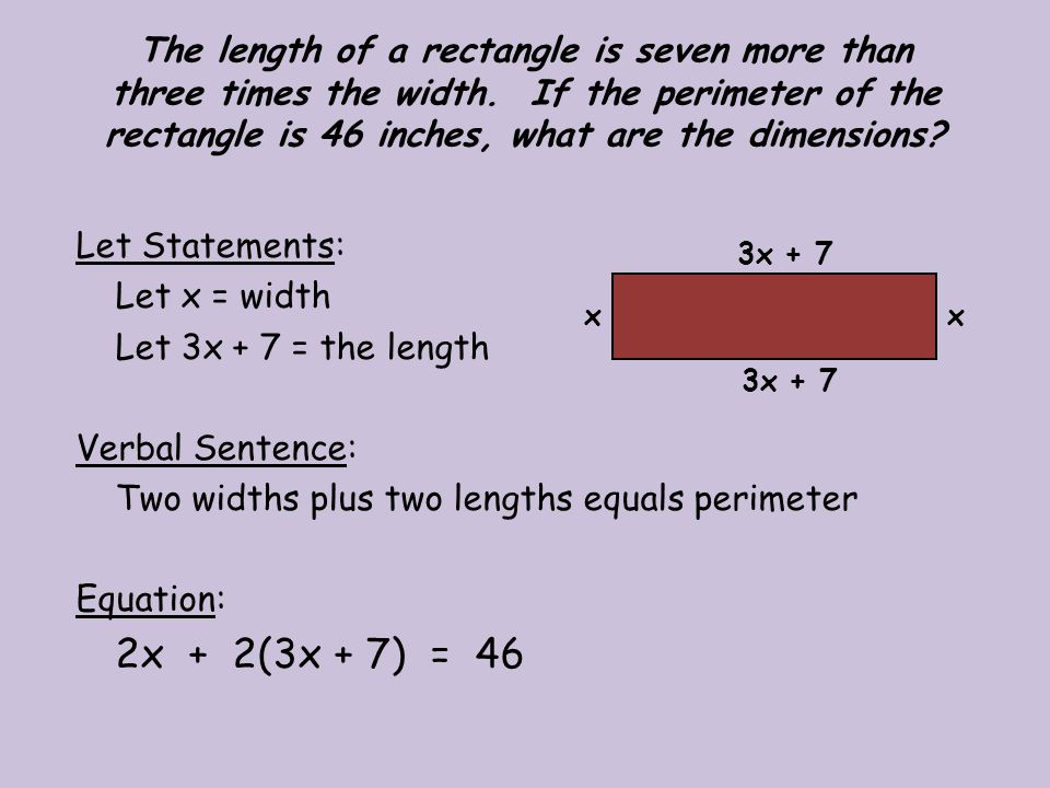 Two widths plus two lengths equals perimeter Equation: