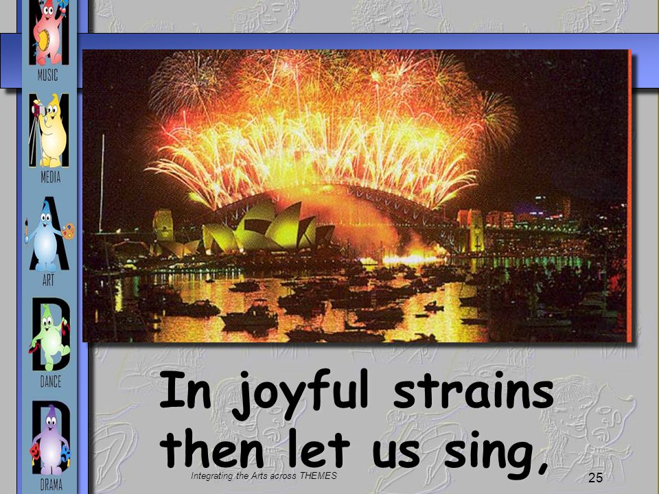 In joyful strains then let us sing,