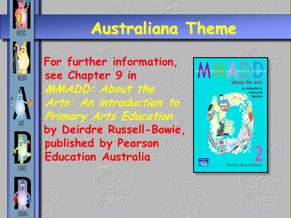 Australiana Theme For further information, see Chapter 9 in MMADD: About the Arts: An introduction to Primary Arts Education.