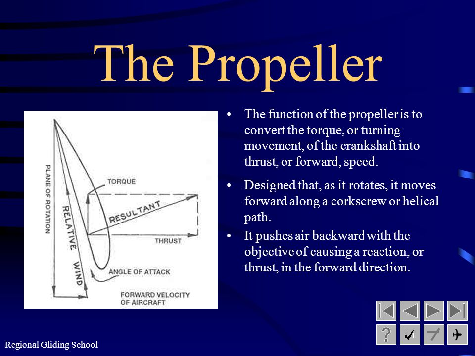 The Propeller The function of the propeller is to convert the torque, or turning movement, of the crankshaft into thrust, or forward, speed.