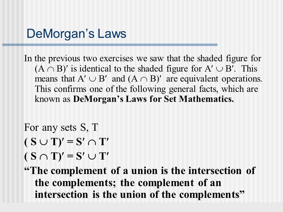 DeMorgan's Laws For any sets S, T ( S  T) = S  T