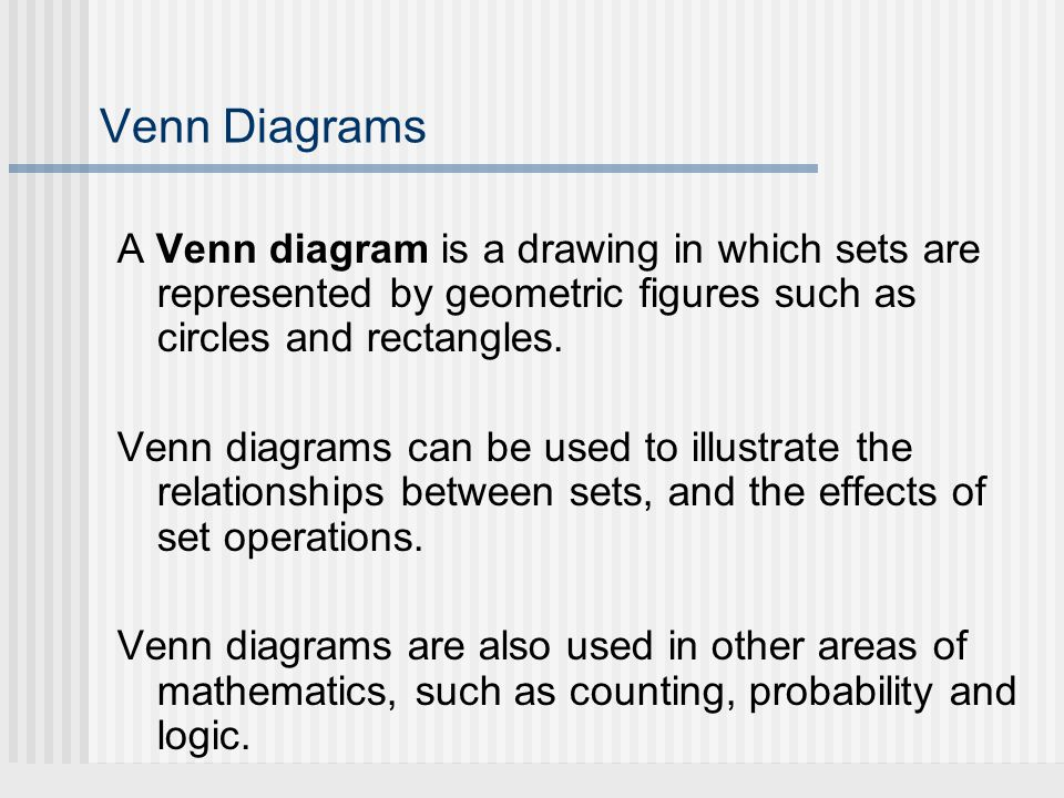 Venn Diagrams A Venn diagram is a drawing in which sets are represented by geometric figures such as circles and rectangles.