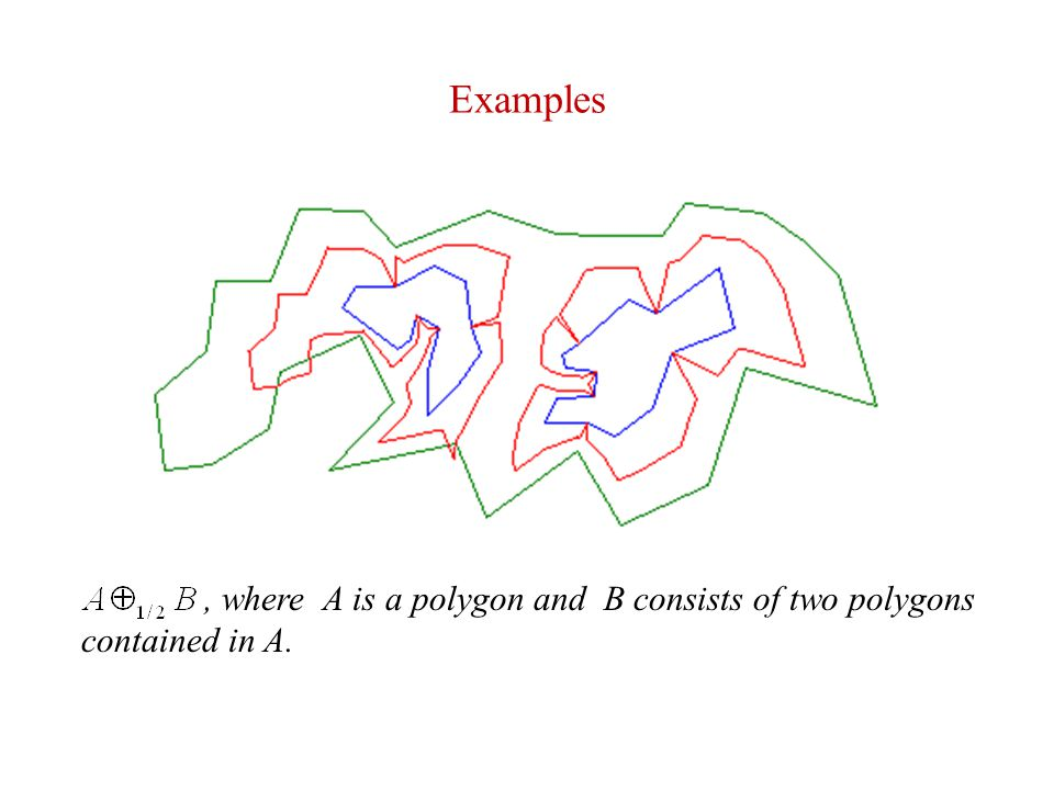 Examples , where A is a polygon and B consists of two polygons