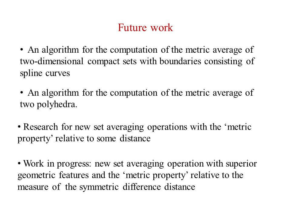 Future work An algorithm for the computation of the metric average of two-dimensional compact sets with boundaries consisting of spline curves.