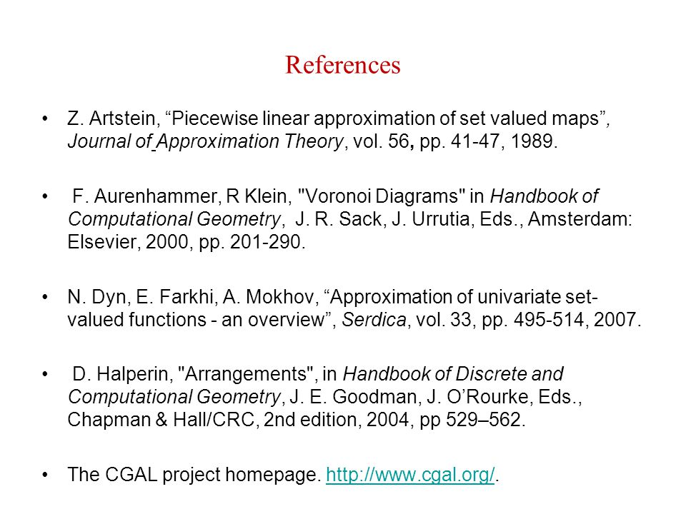 References Z. Artstein, Piecewise linear approximation of set valued maps , Journal of Approximation Theory, vol. 56, pp. 41-47, 1989.