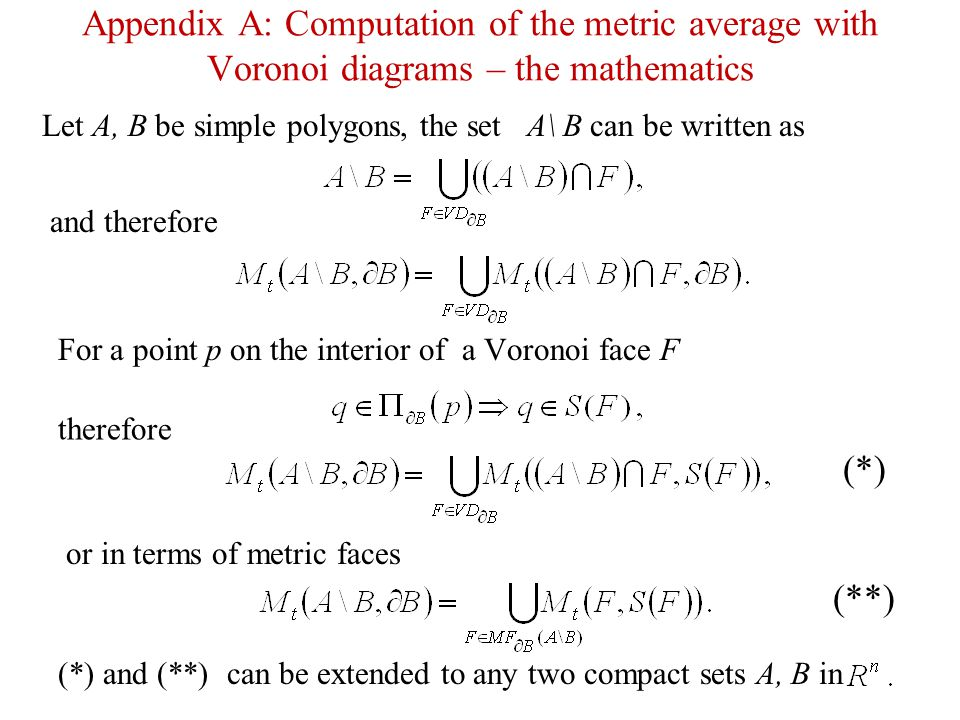 Appendix A: Computation of the metric average with Voronoi diagrams – the mathematics
