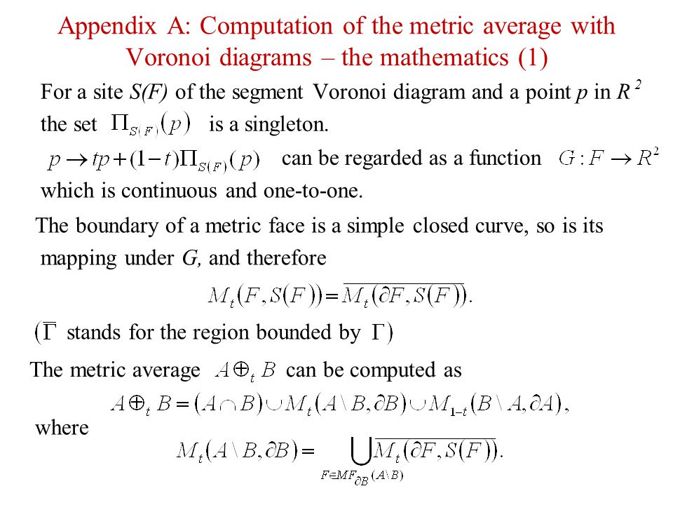 Appendix A: Computation of the metric average with Voronoi diagrams – the mathematics (1)