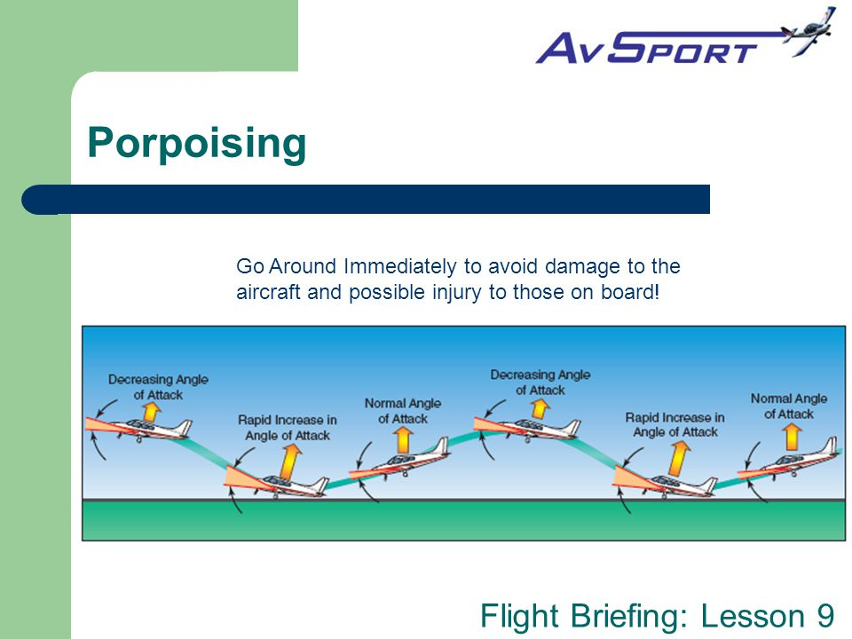 Porpoising Go Around Immediately to avoid damage to the aircraft and possible injury to those on board!
