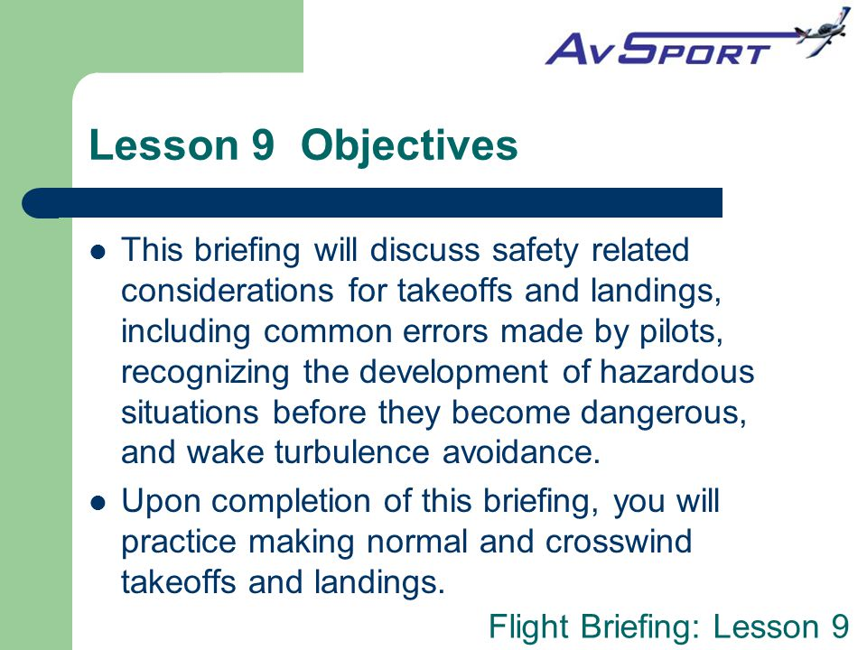 Lesson 9 Objectives