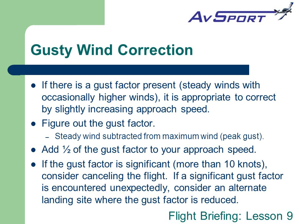 Gusty Wind Correction