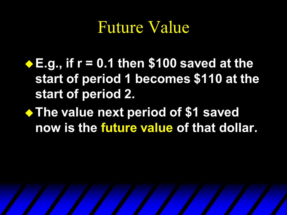Future Value E.g., if r = 0.1 then $100 saved at the start of period 1 becomes $110 at the start of period 2.