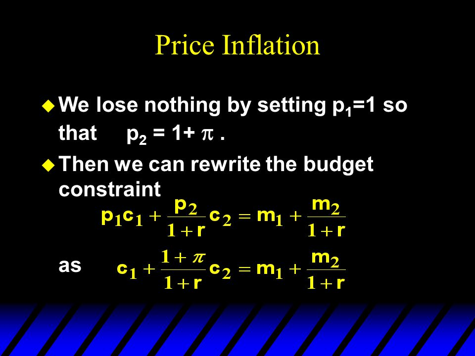 Price Inflation We lose nothing by setting p1=1 so that p2 = 1+ p .