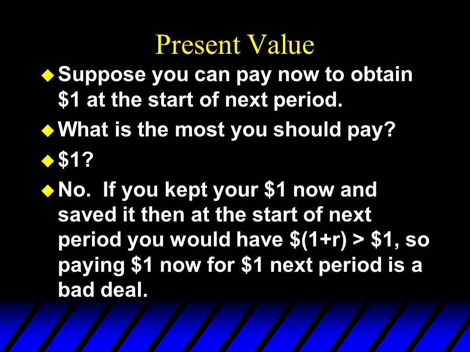 Present Value Suppose you can pay now to obtain $1 at the start of next period. What is the most you should pay
