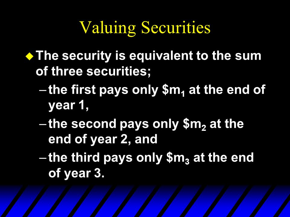 Valuing Securities The security is equivalent to the sum of three securities; the first pays only $m1 at the end of year 1,