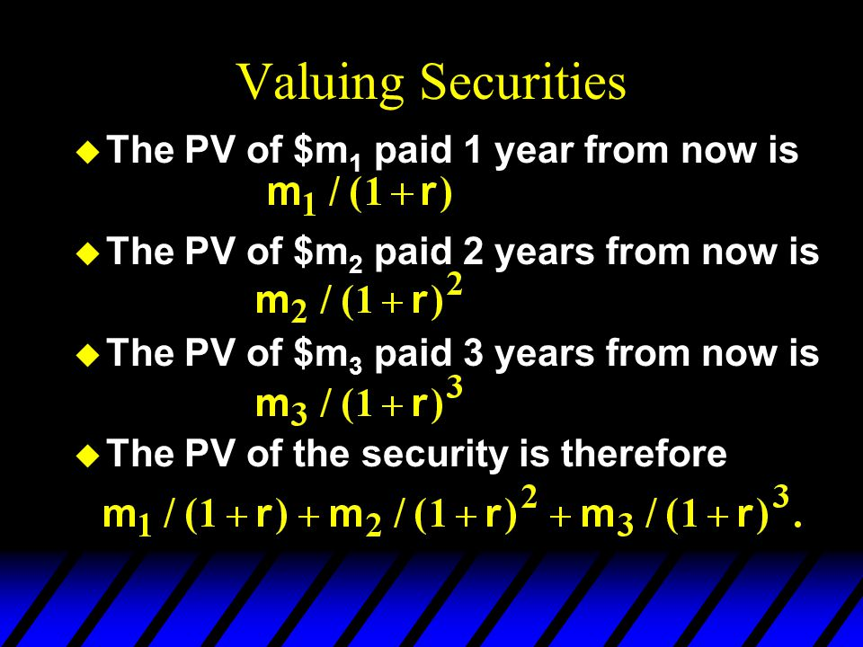 Valuing Securities The PV of $m1 paid 1 year from now is