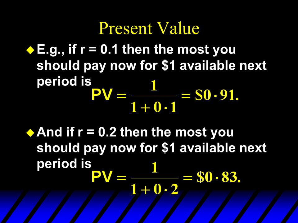 Present Value E.g., if r = 0.1 then the most you should pay now for $1 available next period is.