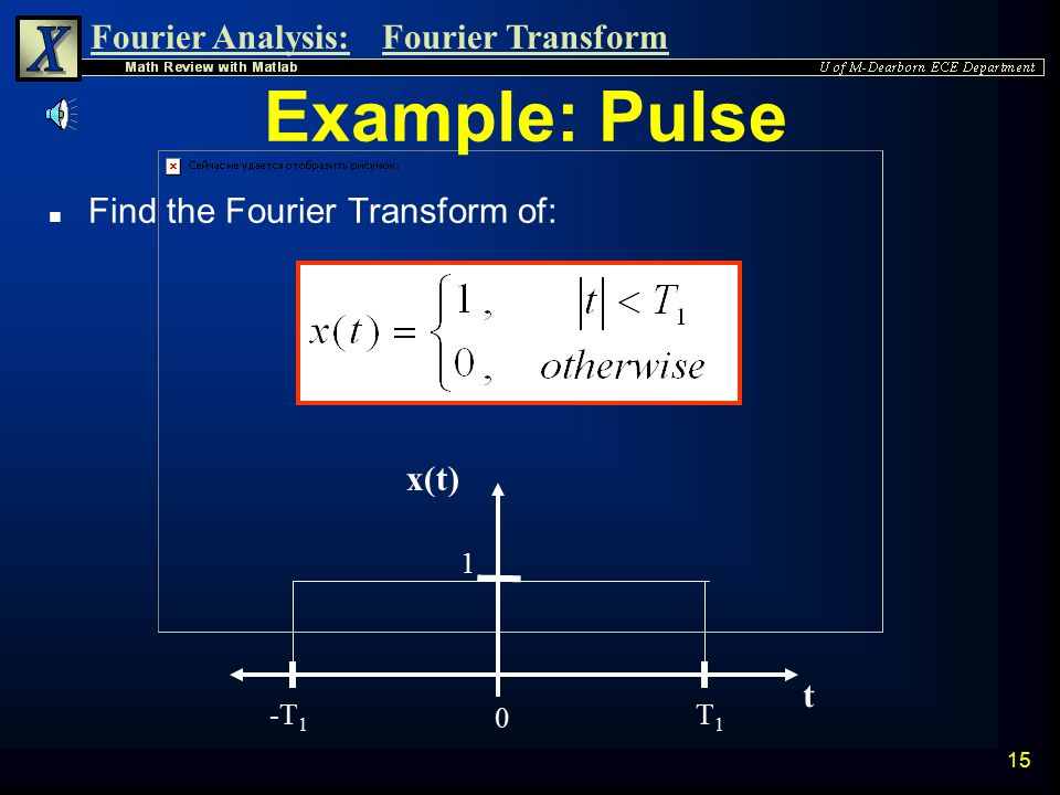 Example: Pulse Find the Fourier Transform of: x(t) t -T1 T1 1