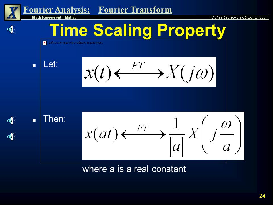 Time Scaling Property Let: Then: where a is a real constant
