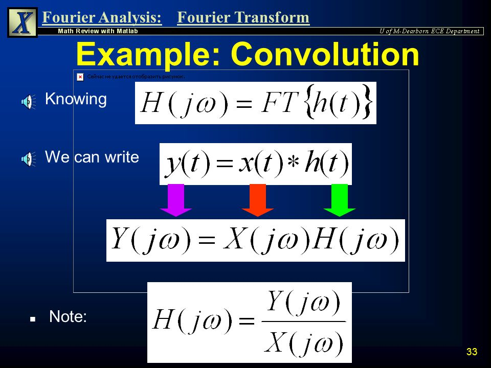 4/10/2017 Example: Convolution Knowing We can write Note: