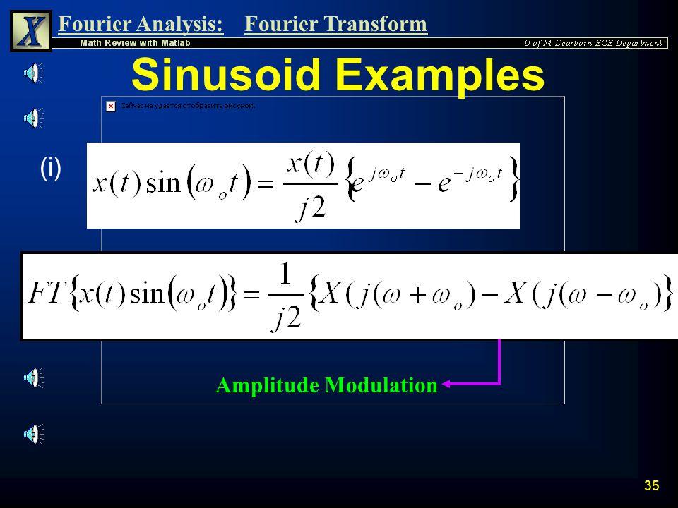 Sinusoid Examples (i) Amplitude Modulation