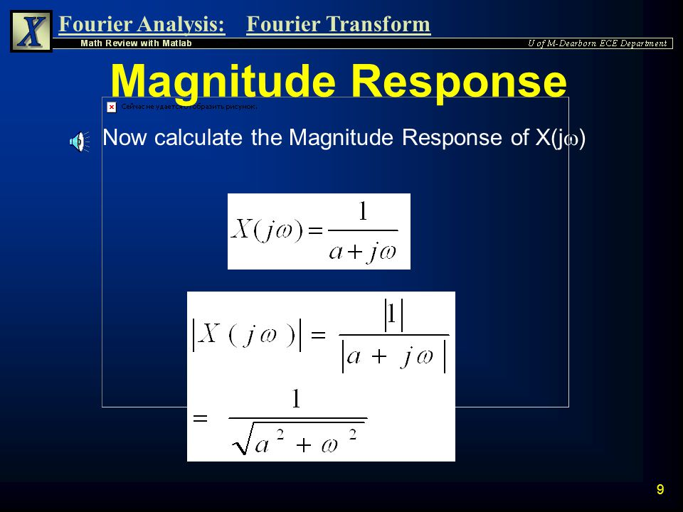 Magnitude Response Now calculate the Magnitude Response of X(j)